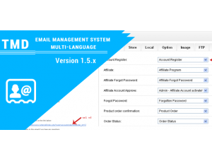 opencart email management system multi-language 1.5.x