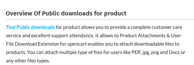 Public Download For Product feature