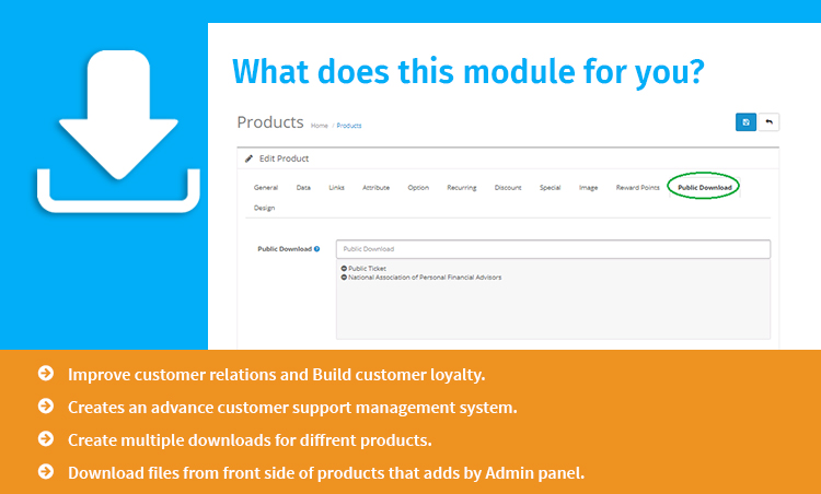 Public Download For Product  feature list